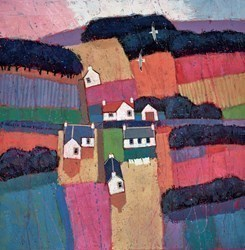 Hillside Houses by David Body -  sized 24x24 inches. Available from Whitewall Galleries